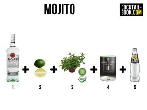 Zutaten für den Mojito: Bacardi, Limetten, Minze, Rohrzucker und Soda