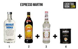 Zutaten für den Espresso Martini: Vodka, Kahlua, Zuckersirup, Espresso
