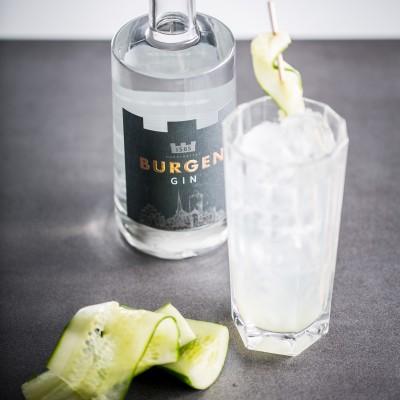 Flasche des Burgen Gin, ein Glas mit dem Burgen Gin und Gurke