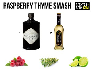 Zutaten für den Raspberry Thyme Smash: Gin, Zuckersirup, Himbeeren, Thymian und Limetten